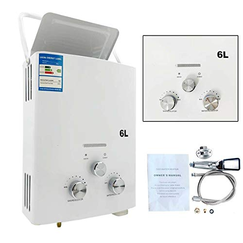TABODD Calentador de agua de gas propano portátil de 6 l, 12 kW, ducha de camping para ducha en exteriores, baño, agua caliente, camping, ducha, calentador de agua con certificación CE