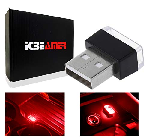 ICBEAMER 1 pc Red Color LED Universal USB Interface Plug-in Miniature Night Light Auto Interior Trunk Ambient Atmosphere