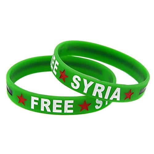 HSJ 5 Unids Gratis Siria Siria Silicona Pulsera De Color Pulsera Suave Pulsera Pulsera Perfectamente Inspira Fitness, Baloncesto, Ejercicio para Encontrar, Ejercicio Y Tareas,Verde