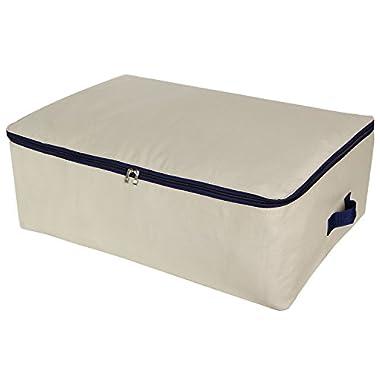 Lifewit Cotton Canvas 100L Large Storage Bags Foldable Underbed Storage Bag for Comforters, Blanket, Bedding, Duvet