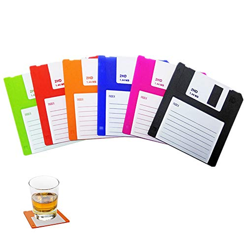 Set of 6 Pack Floppy Silicone Disk Coasters - Retro Coasters - Durable Heat Resistant - Non Slip Protect Your Tables