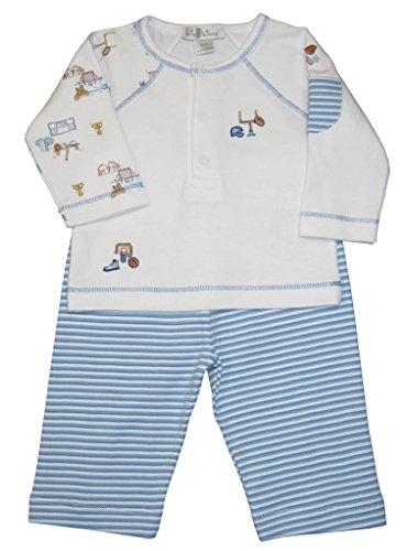 Kissy Kissy Baby-Boys Infant Sports Fan Pant Set-White with Blue-0-3 Months