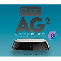 Qviart AG2 Receptor Streaming 4K UHD Ott IPTV Android 7 LAN y WiFi Dual Band, 2 GB DDR3 Ram, 16GB Flash, Bluetooth 4.1, QTV Online TV, VOD y Media Player, Color Negro