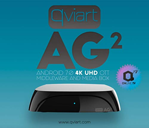 Qviart AG2 Receptor Streaming 4K UHD Ott IPTV Android 7 LAN y WiFi Dual Band, 2 GB DDR3 Ram, 16GB Flash, Bluetooth 4.1, QTV Online TV, VOD y Media Player, Color Negro