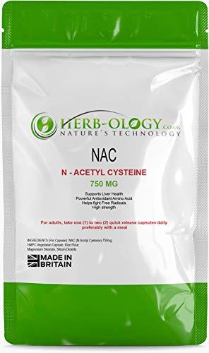 N-Acetyl Cysteine NAC 750mg - 60 Vegetarian Capsules | Powerful ANTIOXIDANT | Supports Heart & Liver Health - Herb-ology 100% Money Back Guarantee