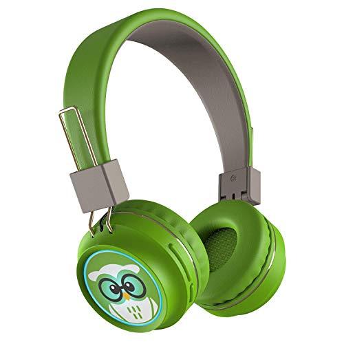 TinyGeeks  Neo - Auriculares inalambricos con límite de Volumen - Certificación SGS 83 dB + Certificación CPSIA | Auriculares para niños con Control de Volumen - Verde