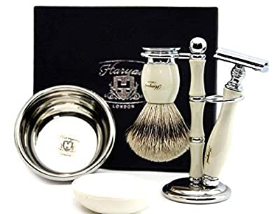 Haryali 5Pc Shaving Kit with Double Edge Safety Razor, Pure Silver Tip Badger Hair Shaving Brush, Stand, Soap and Bowl Perfect Set for Men