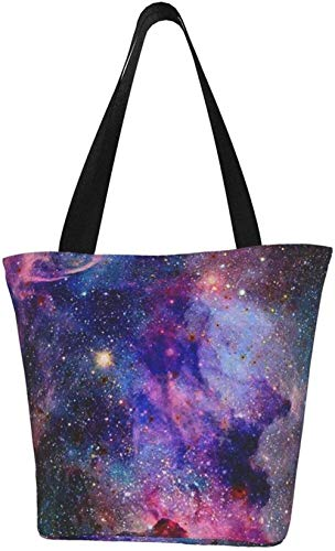 Canvas Tote Bags for Women with Zip,Space Nebulas Galaxy Handbags Shoulder,Big Capacity Shopping Bag,College Bookbag for Girls,Printed Travel Beach Hobo Bags for Ladies