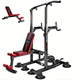 aiyu Multifunction Power Tower, Adjustable Height Pull Up Bar Workout Dip Station with Sit up Bench Press, for Home Gym Strength Training Heavy Duty Fitness Equipment, Dip Stands, Push Up Bars