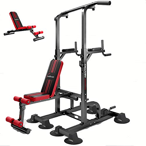 zhenxing Multifunction Power Tower Pull Up Dip Station with Bench Home Gym Exercise Equipment, for Home Gym Strength Training Fitness Equipment, Dip Stands, Pull Up Bars, Push Up Bars