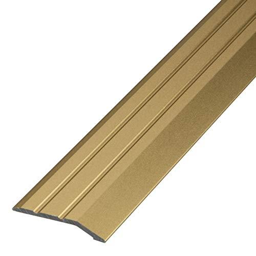 Gedotec Aluminium Übergangsprofil selbstklebend Abschlussprofil Alu | Boden-Leiste höhen-ausgleich | Ausgleichsprofil Messing eloxiert | Abdeckleiste 100 cm | 1 Stück - Übergangsschiene zum Kleben