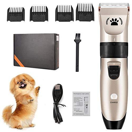 WOERD Cortapelos para Perro, Kit de Aseo para Perros Cortapelos Bajo Ruido Peine de Guía Ajustable Peluquería para Mascotas Recortadora para Perros Clippers para Animal Belleza