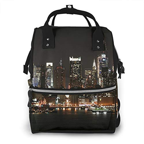 Lights of NYC Fashion Diaper Bags Mummy Backpack Multi Functions Waterproof Large Capacity Nappy Bag Nursing Bag for Baby Care for Traveling