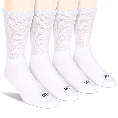 Doctor's Choice Men's Diabetic Crew Socks, Wide Non-Binding Top, Circulatory, Full Cushion, 4 Pairs, White, Large, Sock Size 10-13