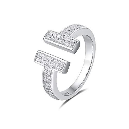 Quiges Dames Ring Klassiek Dubbele T-Vorm van 925 Zilver met Zirkonia Stenen 16.5mm
