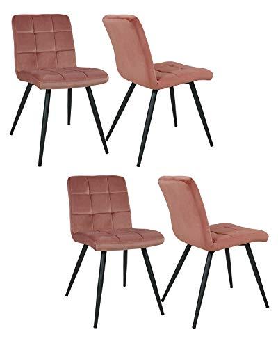 4er Set Esszimmerstuhl aus Stoff Samt Farbauswahl Stuhl Retro Design Polsterstuhl mit Rückenlehne Metallbeine Duhome 8043B, Farbe:Pink, Material:Samt