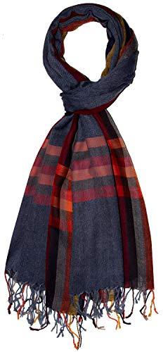 Lorenzo Cana Luxus Schal Schaltuch 50% Kaschmir 50% Wolle vom Merino-Lamm Wolle Kaschmirschal Gewebt Herrenschal Männerschal, Kariert-blau-rot-orange, 70 x 180 cm