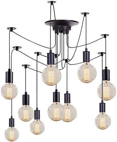 CUIX Vintage hanglamp 10 armen E27 retro kroonluchter hanger verstelbaar DIY industriële plafond spin lamp licht 1,5 m draad lampen niet inbegrepen