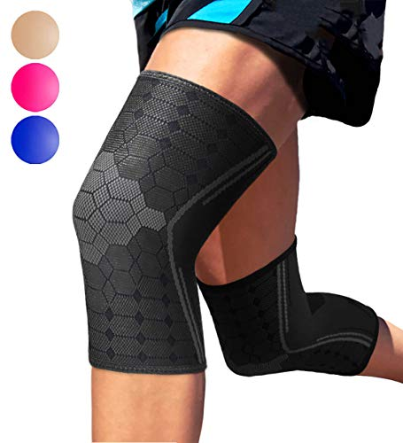 Sparthos Knee Compression Sleeves by (Pair) – Joint Protection and Support for Running, Sports, Knee Pain Relief (Midnight Black, X-Large)