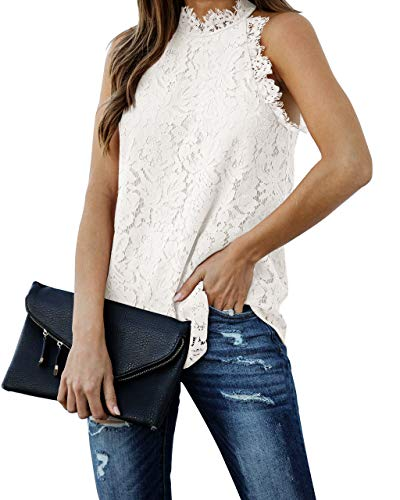 Berryou Women Lace Crochet Hollow Out Tank Tops Casual Blouse Summer Sleeveless Shirts Clubwear 2021 White S