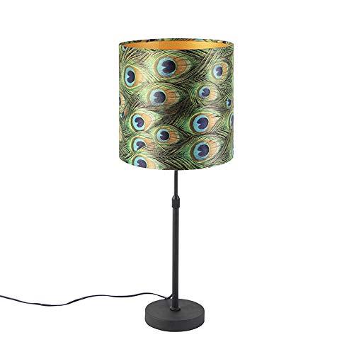 QAZQA Klassiek/Antiek Tafellamp zwart met velours kap pauw met goud 25 cm - Parte Staal/Stof Cilinder/Langwerpig/Rond Geschikt voor LED Max. 1 x 60 Watt