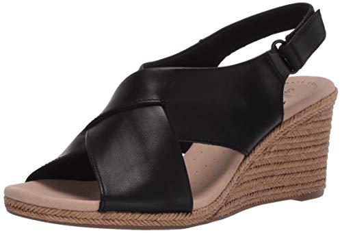Clarks Women s Lafley Alaine Wedge Sandal, Black Leather, 8 M US