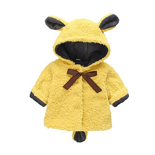 Livoral Kinder Winter MantelMit Kapuze warme Jackenjacke der festen winddichten Jackenkarikatur des Kleinkindbabywinters(Gelb,100)