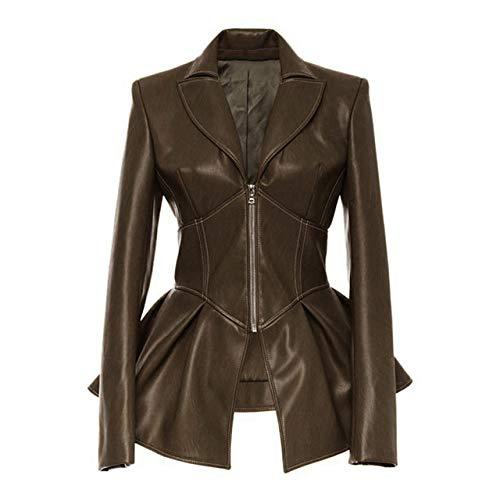 SCLDX Chaqueta De Cuero para Mujer,Primavera Otoño Mujer Elegante Faux Soft Leather Zipper Slim Jacket Coat Turn-Down Collar Casual Midi Jacket PU Motocicleta Punk Prendas De Abrigo Tops