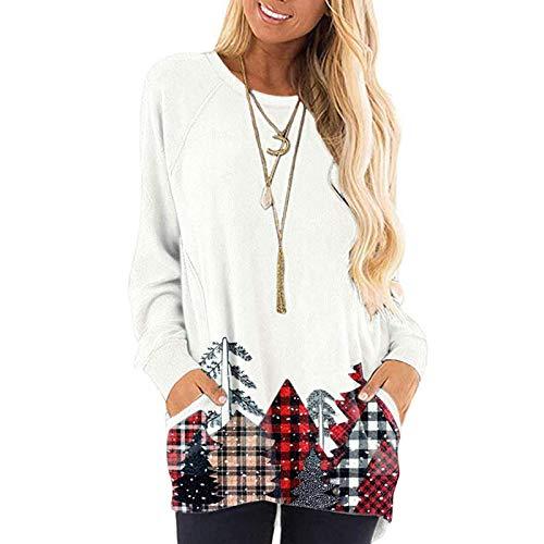 WAJLSWIK Camisas de manga larga para mujer, estilo casual, con estampado navideño, raglán, para mujer