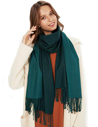 MaaMgic Schal Damen Zweifarbig Stola mit Baumwolle Herbst Winter Mehrfarbige Deckenschal MEHRWEG Grün Dunkelgrün