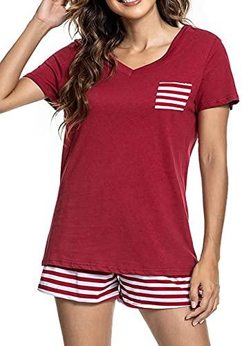 Pijama corto para mujer, cuello en V, ropa de dormir, camiseta de algodón, dos piezas, con cordón, verano, tallas S-XXL borgoña M