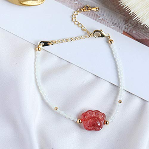 CYHSHY Natural Opal Cat Claw Strawberry Crystal Feng Shui Pulsera para Mujeres Talismán Ajustable Protege Suerte Amor Money Wealth Feliz Peach Blossom