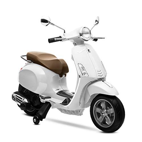 Playkin VESPA BLANCA - Moto electrica niños oficial bateria 6V recargable triciclo +3 años juguetes infantiles triciclo correpasillos