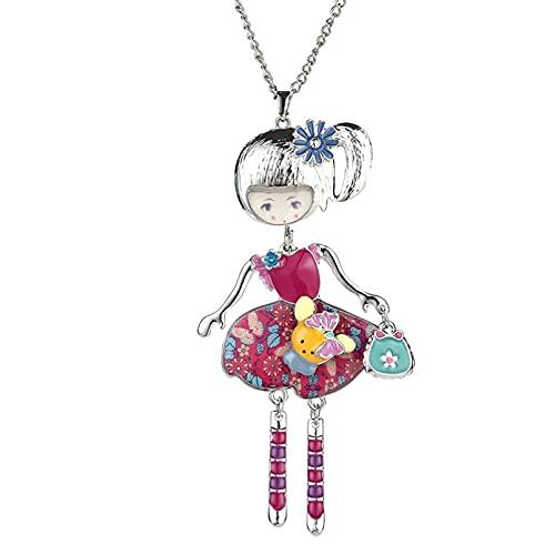 QiuYueShangMao Collar Colgante Niña Mujer Vestido Bonito Collar Esmalte Muñeca Colgante Collares Joyería gótica Novia, Esposa, Hija, Madre