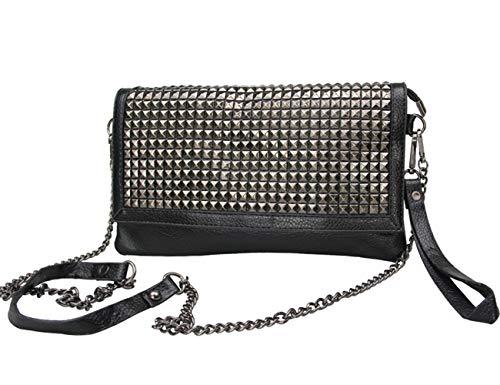 Rullar - Bolso de mano para mujer, diseño punk, color negro