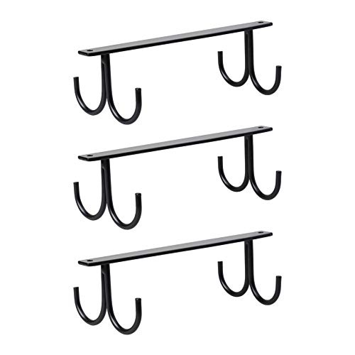 NHZ Cup Holder Under Cabinet 12 Cabinet Hook Mug Rack Coffee Cup Holder Coffee Cups and Kitchen Utensils Display Black3 Pack12 Hooks
