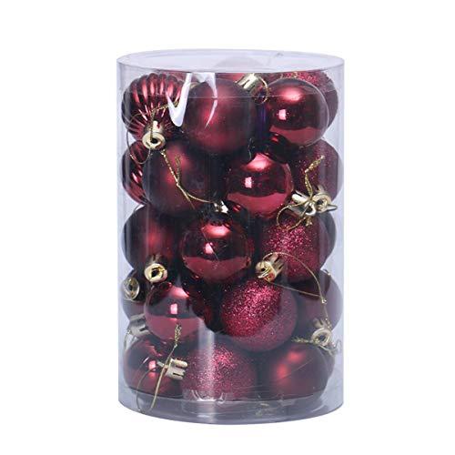 HunJay 4cm/6cm 30pcs Christmas Tree Baubles Shatterproof Plastic Christmas Ball Ornament Tree Pendants Holiday Party Festival Decor (Wine Red, 4cm/1.57')