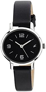 Fastrack Women's 6107SL02 Casual Black Dial Black Leather Strap Watch