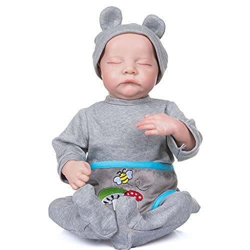 """19 """"/ 49cm Realistic Baby Reborns Doll Sleeping Newborn Lifelike Boy Regalo infantil con dibujo a mano Cabello y ropa Cuerpo completo Silicona reborn baby girl boy dolls ropa para recién nacidos de"""