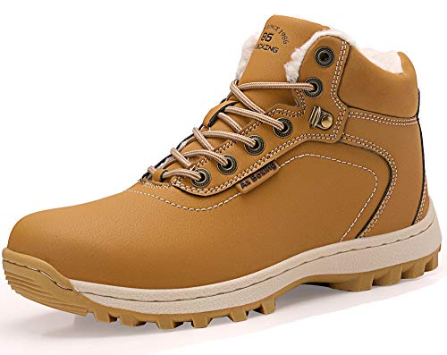 ABTOP Hombre Botines Zapatos Botas Nieve Invierno Botas Impermeables Fur Forro Aire Libre Boots (46 EU, A7445-Amarillo)