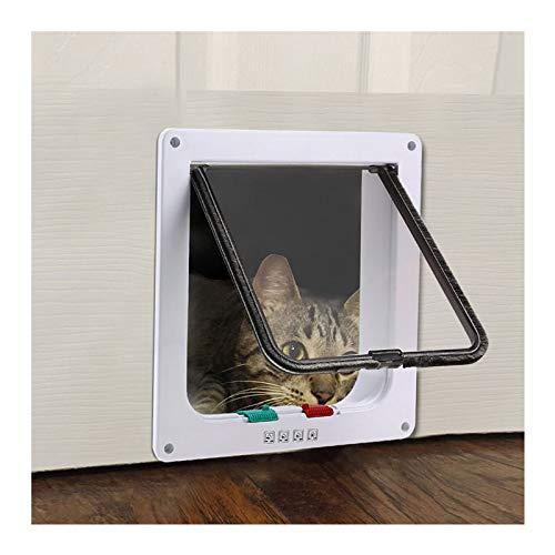 Puertas para Perros Hua Puerta para Mascotas/Solapa para Gatos con Bloqueo De 4 Vías, Puerta Abatible A Prueba De Viento De Material Abs para Todas Las Mascotas, 3 Tamaños (Size : Small)