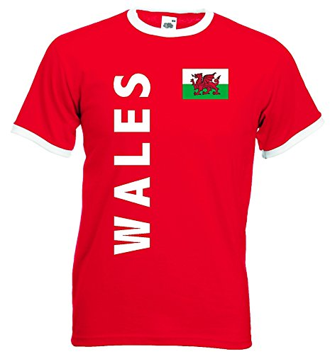 World-of-Shirt Herren Retro T-Shirt Wales Trikot EM 2016|rot-L