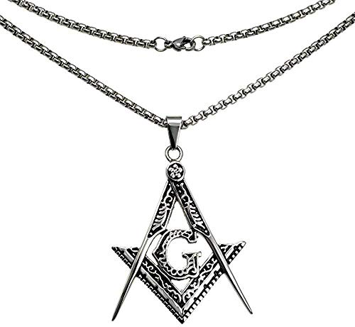 qiangloushui Collar Collar De Cadena con Colgante De Masón De Masonería con Relleno De Oro Blanco para Hombre, 60 Cm De Longitud