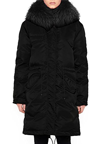 Roiii Women Winter Warm Thick Brown Shade Faux Fur Coat Outdoor Hood Parka Long Jacket Plus Size S M L XL XXL 3XL (XX-Large, Black)