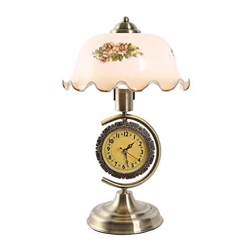 YIXIN2013SHOP Lámparas de Escritorio Retro Europea Dormitorio de la lámpara Mesita de Noche con el Reloj y Estudio lámpara de Mesa Lámpara Mesilla de Noche