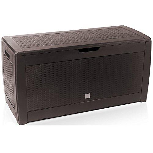 Mojawo XXL Kunststoff Auflagenbox Kissenbox Gartenbox auf Rollen Rattan-Optik für Polsterauflagen Kunststoff wasserdicht Mokka 310Liter
