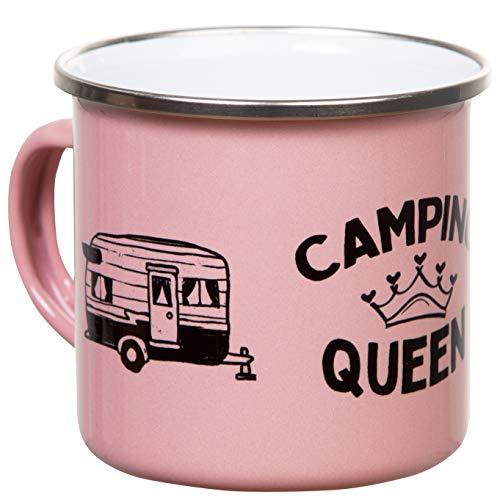 CAMPING QUEEN | Emaille Tasse in altrosa pink mit Wohnwagen Design | leicht und bruchsicher, für Camping und Reise | von MUGSY.de