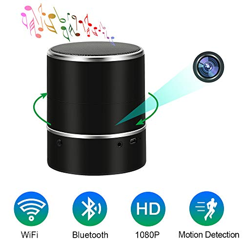 Cámara Espia WiFi Camaras Espias Ocultas Altavoz Bluetooth HD TANGMI 1080P Video Vigilancia Cámaras de Seguridad con Lente de Rotación de 180 Detección de Movimiento Cámara Nanny