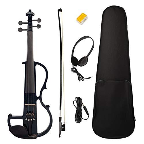 Binchil Violino Elettrico 4/4 Violino Full Dimensioni con Custodia Arco Auricolare Rosin Set Nero Nuovo