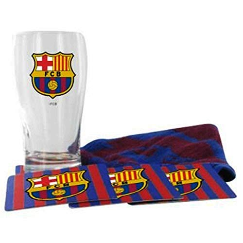 FCB FC Barcelona Mini-Bar-Set mit Pint-Glas, Handtuch und Untersetzern, Geschenkset